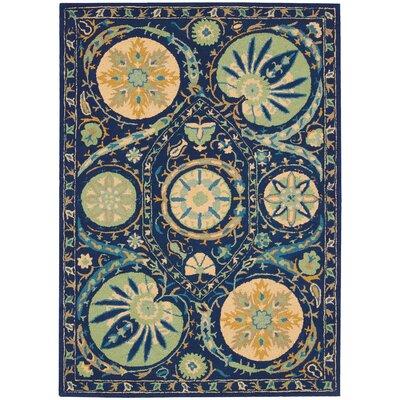 Suzani Hand-Tufted Blue Area Rug Rug Size: 53 x 75
