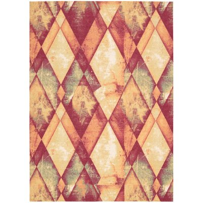 Trisha Red/Gold Area Rug Rug Size: Rectangle 5 x 7