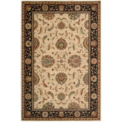 Living Treasures Wool Ivory/Black Indoor Area Rug Rug Size: 76 x 96