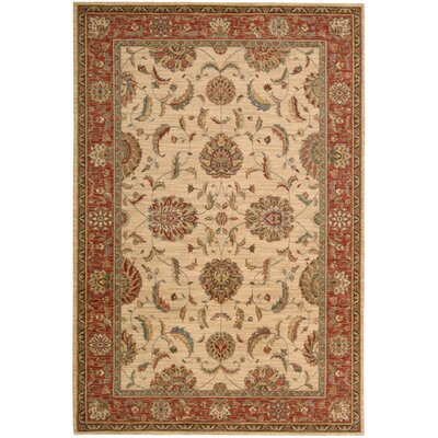 Living Treasures Ivory/Red Area Rug Rug Size: 5'6