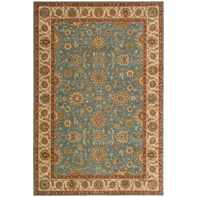Living Treasures Teal Blue/Tan Area Rug Rug Size: 36 x 56