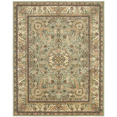 2000 Hand Woven Wool Cream/Pale Leaf Green Indoor Area Rug Rug Size: 99 x 139