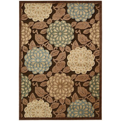 Hettie Brown/Tan Floral Area Rug Rug Size: 53 x 75
