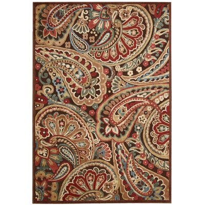 Illusions Red/Brown Area Rug Rug Size: 23 x 39