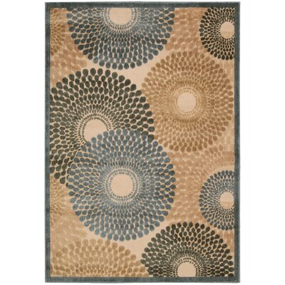 Illusions Brown/Blue Area Rug Rug Size: 53 x 75