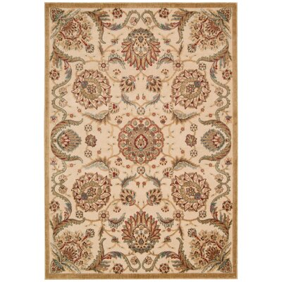 Burnham Beige Oriental Area Rug Rug Size: Rectangle 36 x 56