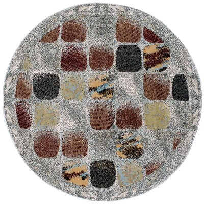 Powderhorn Gray/Brown Area Rug Rug Size: Round 53