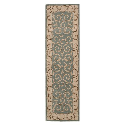 Versaille Palace Hand-Tufted Aqua Area Rug Rug Size: Runner 23 x 8