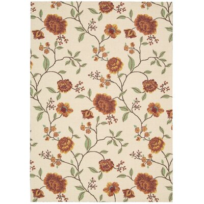 Burnside Ivory Floral and Plants Area Rug Rug Size: 5 x 7