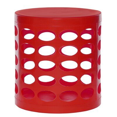 Round Storage Ottoman Finish: Red