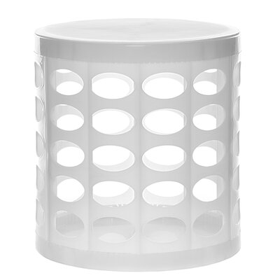 Round Storage Ottoman Finish: White