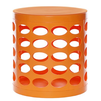 Round Storage Ottoman Finish: Orange