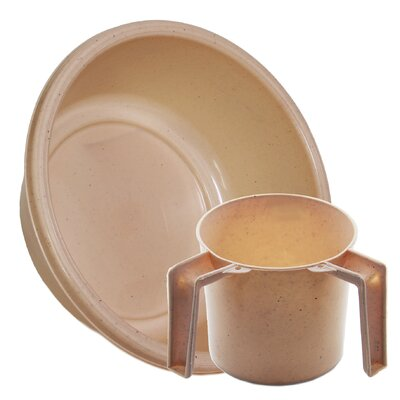 Round Wash Cup and Wash Basin Set ba157-1148set-beige dotted