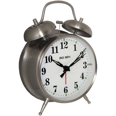 Metal Twin Bell Alarm Tabletop Clock Color: Nickel CHRL6425 43209236