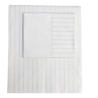 Henry Hill 560 Thread Count 100% Cotton Striped Flat Sheet Size: Queen, Color: Limestone