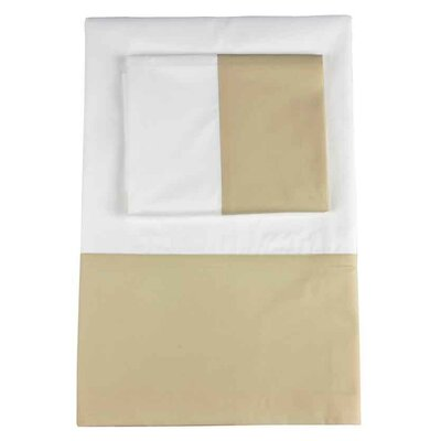 Taylor Twill Weave Banded Pillowcase Size: Standard, Color: Pumice