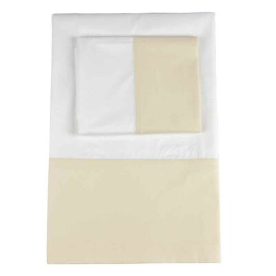 Taylor Twill Weave Banded Pillowcase Size: King, Color: Limestone