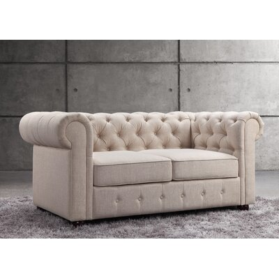 Garcia Chesterfield Loveseat Upholstery: Beige