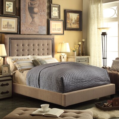 Elio Queen Upholstered Panel Bed Upholstery: Gray