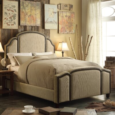 Ricca Queen Upholstered Panel Bed Color: Beige