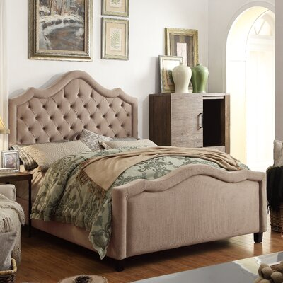 Alisa Queen Upholstered Panel Bed Upholstery: Beige