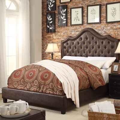 Alisa Queen Upholstered Panel Bed Color: Espresso