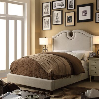 Elio Queen Upholstered Panel Bed Color: Beige