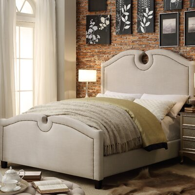 Elio Queen Upholstered Panel Bed Color: Beige