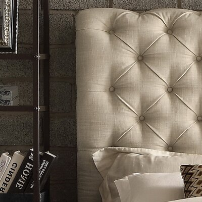Calia Queen Upholstered Panel Bed Upholstery: Beige