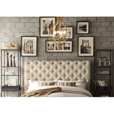Calia Queen Upholstered Panel Headboard Upholstery: Fabric -  Beige