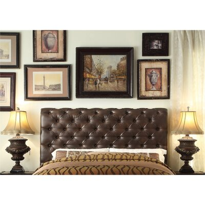 Calia Tufted Upholstered Panel Headboard Upholstery: Leather - Two Tone Espresso