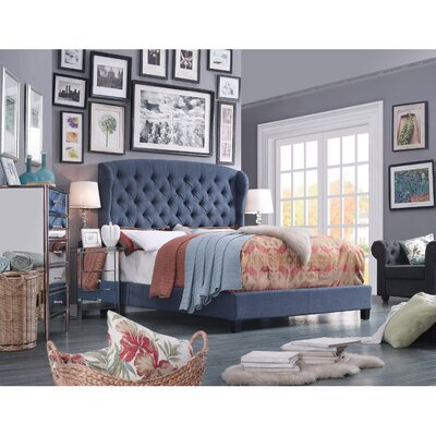 Felisa Upholstered Platform Bed Color: Navy, Size: Queen