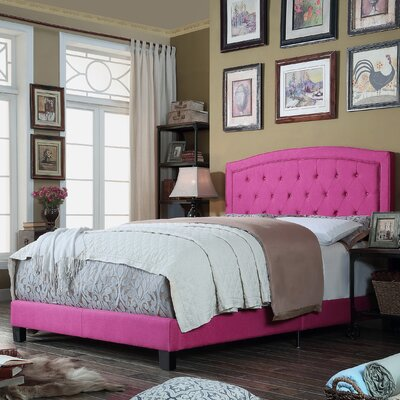 Gabriel Upholstered Panel Bed Color: Magenta Pink, Size: Queen