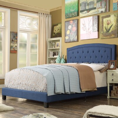 Gabriel Upholstered Panel Bed Color: Classic Navy, Size: Twin