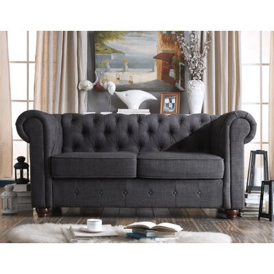 Garcia Chesterfield Loveseat Upholstery: Charcoal