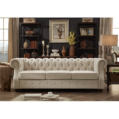 Olivia Tufted Chesterfield Sofa Upholstery: Beige
