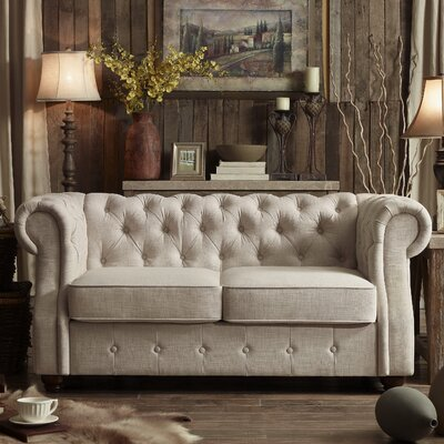 Asberry Chesterfield Loveseat Upholstery: Beige