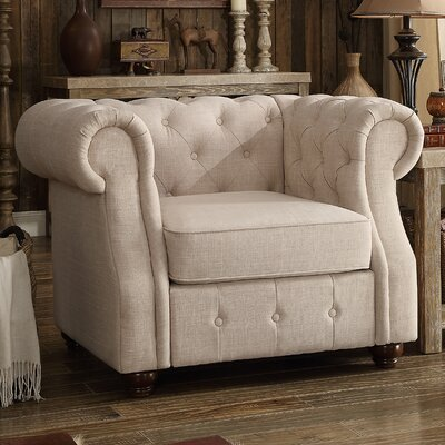 Olivia Chesterfield Chair Finish: Beige