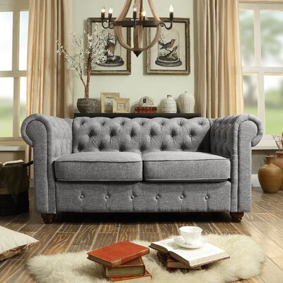 Garcia Chesterfield Loveseat Upholstery: Gray