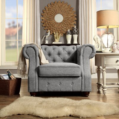 Olivia Chesterfield Chair Finish: Grey