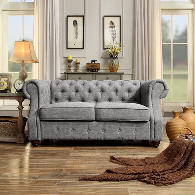 Asberry Chesterfield Loveseat Upholstery: Grey