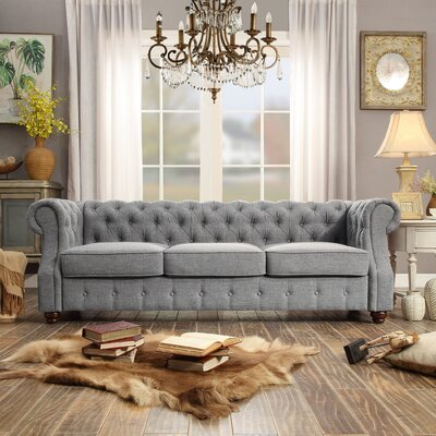 Asberry Tufted Chesterfield Sofa Upholstery: Grey