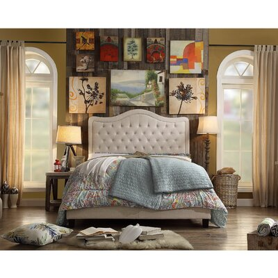 Aurora Upholstered Platform Bed Size: Full, Color: Beige