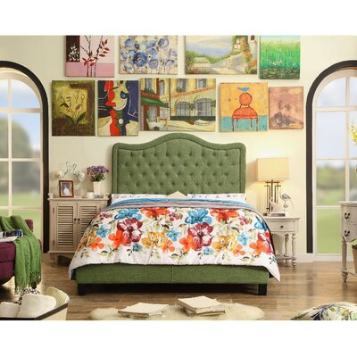 Aurora Upholstered Platform Bed Size: Queen, Color: Natural Olive Green