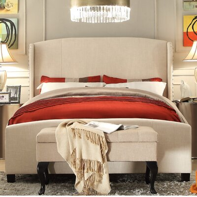 Arzola Queen Upholstered Panel Bed Color: Beige