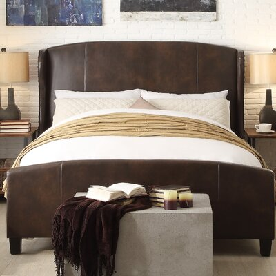 Arzola Queen Upholstered Panel Bed Color: Two Tone Espresso
