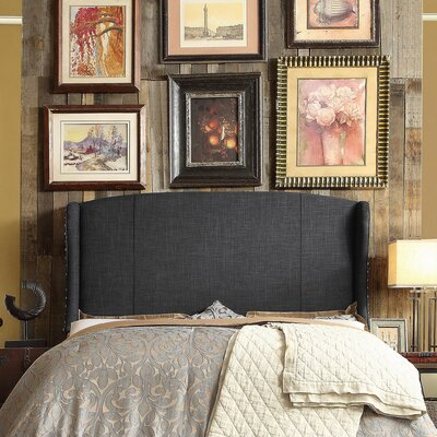 Chavelle Upholstered Wingback Headboard Size: Queen, Upholstery: Charcoal