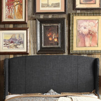 Chavelle Queen Upholstered Wingback Headboard Upholstery: Charcoal
