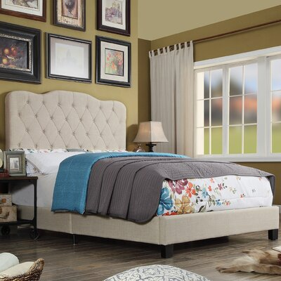 Elian Upholstered Panel Bed Color: Beige, Size: Full