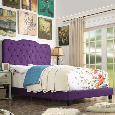 Elian Upholstered Panel Bed Color: Radiant Violet, Size: Queen